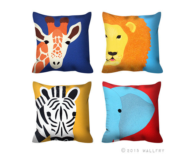 Set of 4 jungle animal throw pillows. Safari nursery decor. African animal throw pillow. 4 x Cushion for nursery. Kids room decor by WallFry