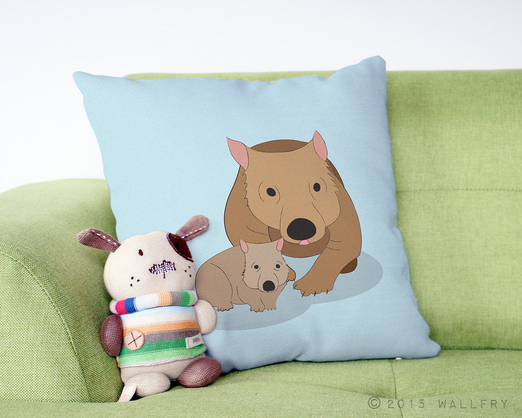 Wombat throw pillow. Australian animal nursery decor. Decor for nursery. Aussie animal nursery. Australian native animal decor by WallFry