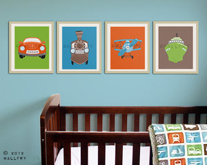 Boy nursery art. Nursery decor for boys. Transportation artwork. Transportation nursery art. Airplane.  SET of ANY 3 prints by WallFry
