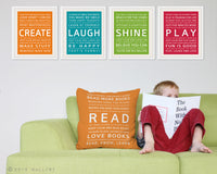 Inspiration series throw pillows. ANY 1 pillow by WallFry. Playroom decor, kids cushion. Decor for nursery. Playroom rules.