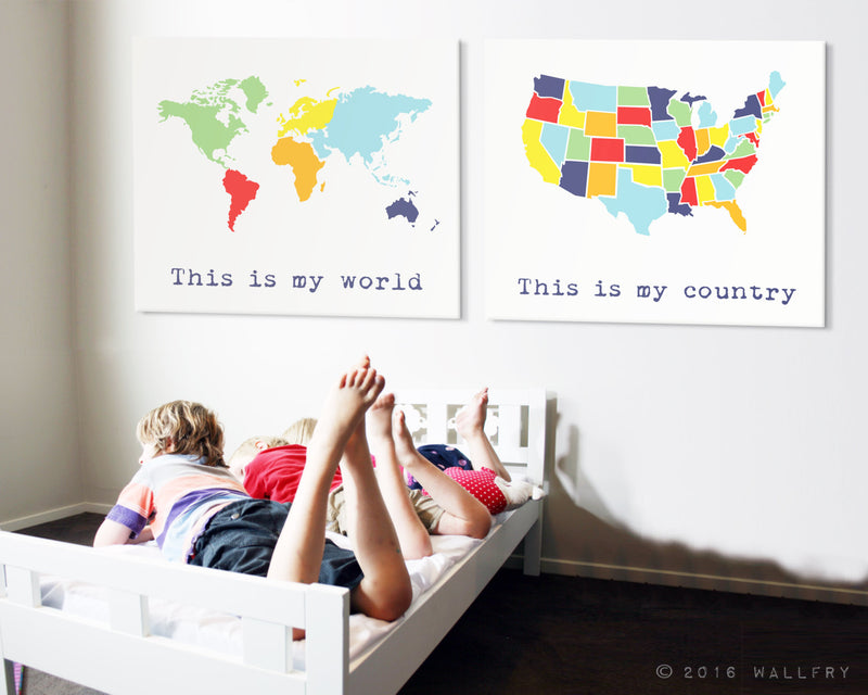 Huge canvas world map with labels. Large gallery wrap canvas world map nursery decor. Playroom artwork. World map canvas wrap by WallFry