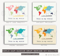 Large size world map canvas wraps. SET OF 2 canvas gallery wrap prints by WallFry. Huge canvas map nursery decor. United States artwork.