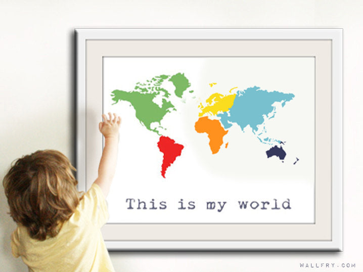 Kids wall art. World map print, childrens wall art. Kid playroom art. Colorful Map art for children, nursery art print by WallFry