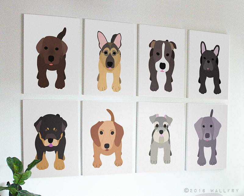 Puppy dog nursery decor. Dog canvas wrap art prints. SET OF ANY 4 dog prints on gallery wrapped canvas by Wallfry for playroom decor.