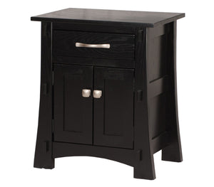 Seville Nightstand in Midnight Oak, Custom Hardware