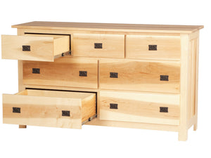 "7 drawers, 62"" wide x 36"" high, Mission dresser in Natural Maple"