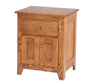 2 doors, 1 drawer, 30″ x 25″ Shaker nightstand in Rustic Oak