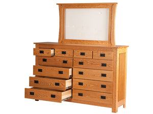 12 drawers, Mission Dresser with Standard Mirror in Comfort Oak