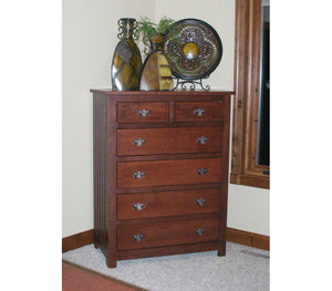 "6 drawers, 50"" high x 40"" wide Mission Dresser, Oak Hardwood, Lexington Finish"