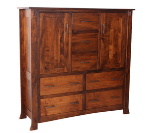 7 drawers, 2 doors, 60″ wide x 60″ high Seville Wardrobe Dresser in Iconic Maple