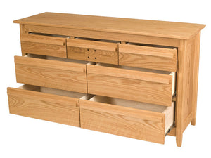 "7 drawers, 62"" wide x 36"" high, Florence Dresser in Oak, Oil & Wax Finish"