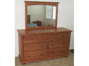 "62"" x 36"" Valencia Dresser with Standard 48"" wide x 42"" high mirror, in Vintage Cherry"