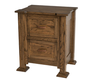 "2 drawers, 30"" high x 25"" wide x 20"" deep, Sacramento Nightstand in Jacobean Oak"