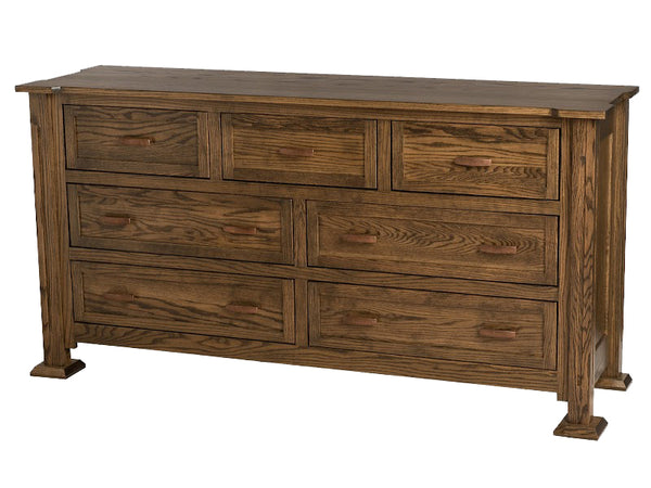 "7 drawers, 70"" wide x 36"" high, Sacramento Horizontal Dresser in Jacobean Oak"