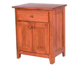 "2 doors, 1 drawer, 30"" high x 25"" wide Shaker nightstand in Royal Maple"
