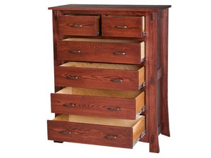 6 drawers, 50″ high x 40″ wide, Seville Vertical Dresser in Heritage Oak