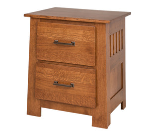 "2 drawers, 30"" high  x 25"" wide Teton Nightstand in Nebraska Quarter Sawn Oak"