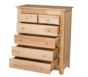 6 drawers, 50″ high x 40″ wide Shaker Vertical Dresser in Natural Maple