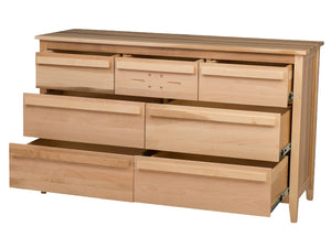 7 drawers, 60″ wide x 36″ high, Florence Horizontal Dresser in Natural Maple