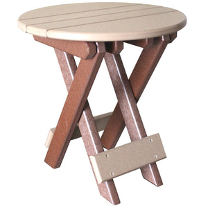 Round Folding End Table in Brown and Weatherwood