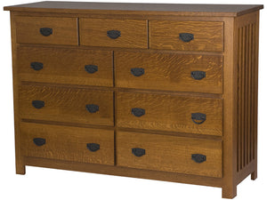 "9 drawers, 42"" high, Mission Dresser in Mahogany Quarter Sawn Oak"