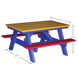 "40"" Children's Picnic Table Dimensions"