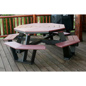 5' Octagon Picnic Table in Black & Cherry