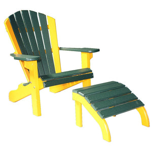 Classic Beach Chair in Yellow and Green, with Classic Ottoman