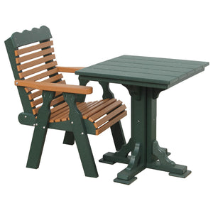 "22"" Plainback Chair in Green & Cedar, pictured with Square Table in Green"