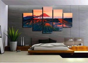 Red Mount Peaks Clouds - Nature Canvas Wall Art
