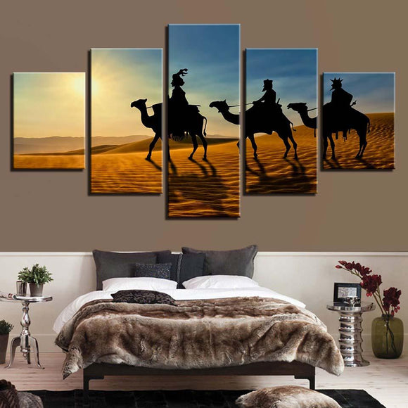 Camel Sunshine Desert - Nature Canvas Wall Art