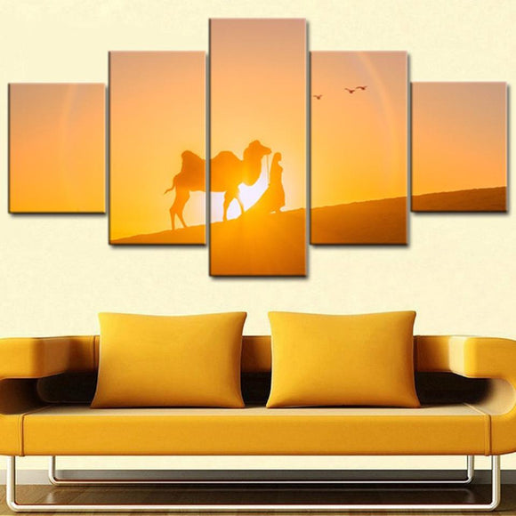 Camel Desert Sunset - Nature Canvas Wall Art