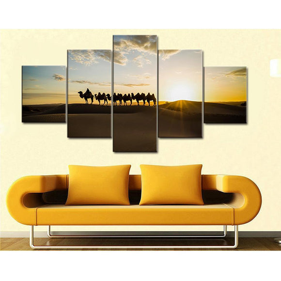 Desert Camel Sunrise Landscape - Nature Canvas Wall Art