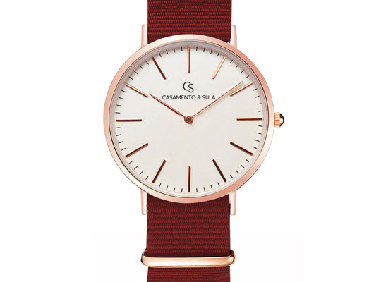 Zurich Line - White Rosé Gold Nylon Red