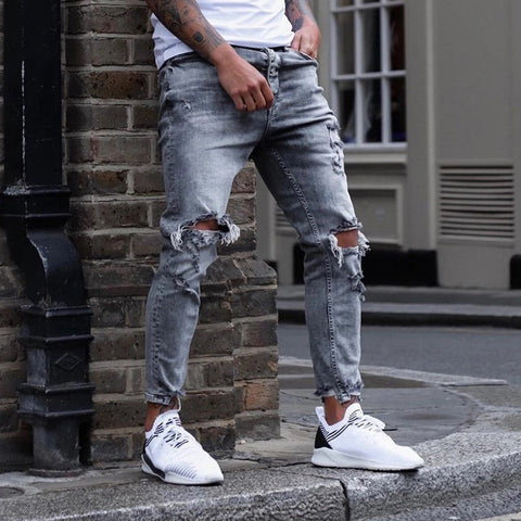 Men's Fashion High-waist Broken Hole Tight Jeans