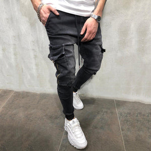 Men'S Pure Color Elastic Waist Jeans