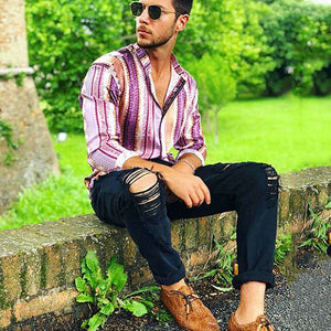 Men's Casual Long-Sleeved Single-Breasted Printed Shirts