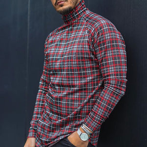 High Collar Contrast Plaid Long Sleeve Shirt