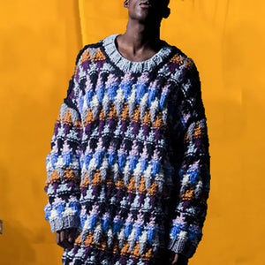 Man's Individuality Loose Colored Grid Sweater