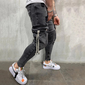 Men'S Leisure Middle Waist Broken Holes Jeans