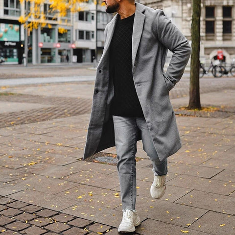 Men Fashion Solid Colour Lapel Overcoat