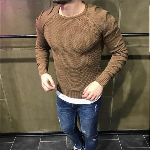 Stylish And Simple Gentleman Solid Color Round Neck Sweater