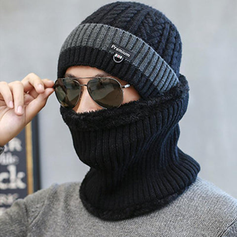 Men's Twist Knit Windproof Warm Collar Wool Cap