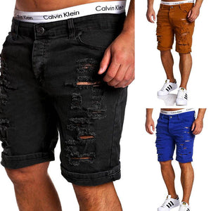 Denim Men's Casual Shredded   Washed Shorts