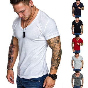 Solid color V-neck casual sports t-shirt