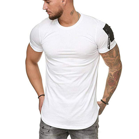 Solid Color Round Collar Pocket Splicing T-Shirt