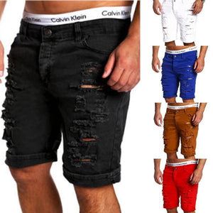 Fashion Solid Color Ripped Short Jeans