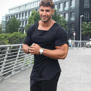Solid Color Hole Sports Fitness Cotton T-Shirt