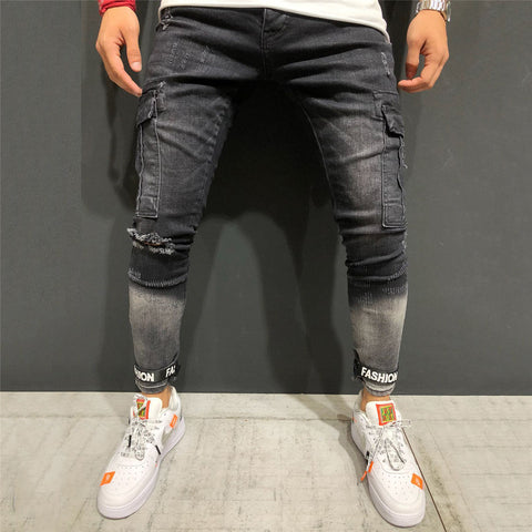Fashion Hole-In-The-Leg Elastic  Jeans