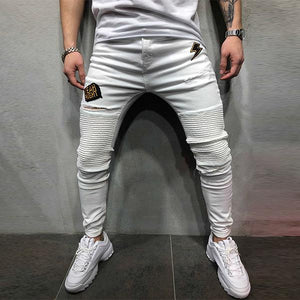 Fashion Solid Color Pleated Slim-Fit Jeans